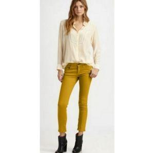 RAG & BONE Yellow Skinny Zipper Ankle Jeans